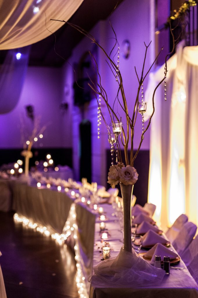 Quinceanera-Purple-lighting-and-chambelanes-head-table-7510-681x1024